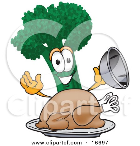 Clipart Picture of a Green Broccoli Food Mascot Cartoon Character Serving a Cooked Thanksgiving Turkey in a Platter by Toons4Biz