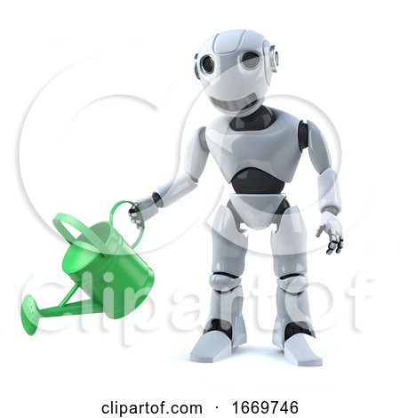 3d Robot Watering His Plants with a Watering Can by Steve Young