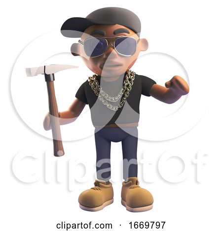 3d Cartoon Black Hiphop Rapper Character in Baseball Cap Holding a Hammer, 3d Illustration by Steve Young