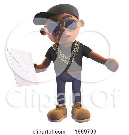3d Black Cartoon Hiphop Rapper Character in Baseball Cap Holding an Envelope Mail, 3d Illustration by Steve Young