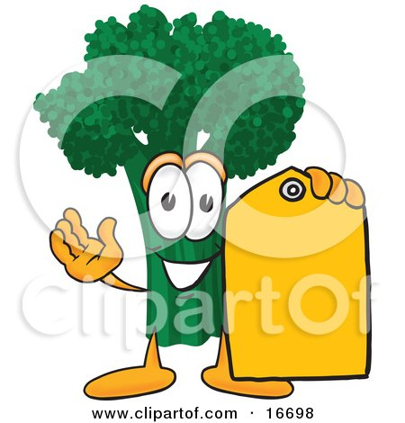 Clipart Picture of a Green Broccoli Food Mascot Cartoon Character Holding a Yellow Sales Price Tag by Toons4Biz