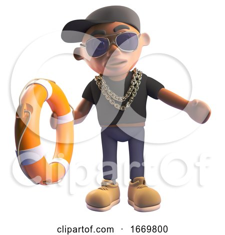 Black 3d Cartoon Hiphop Rapper in Baseball Cap Offering a Lifering Life Preserver to Someone Drowning, 3d Illustration by Steve Young