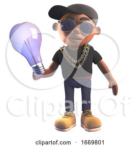 3d Cartoon Black Hiphop Rapper in Baseball Cap Holding an Incandescent Lightbulb, 3d Illustration by Steve Young