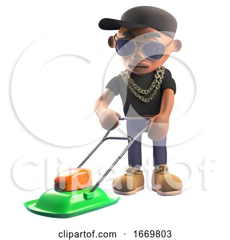 Cartoon 3d Black Hiphop Rapper Character in Baseball Cap Mowing the Lawn with a Lawnmower, 3d Illustration by Steve Young