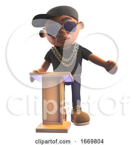 3d Cartoon Black Hiphop Rap Artist Character in Baseball Cap Teaches at the Lectern, 3d Illustration by Steve Young