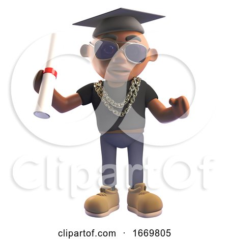 Cartoon 3d Black Hiphop Rapper Wearing Graduation Mortar Board and Holding a Diploma Scroll 3d Illustration by Steve Young