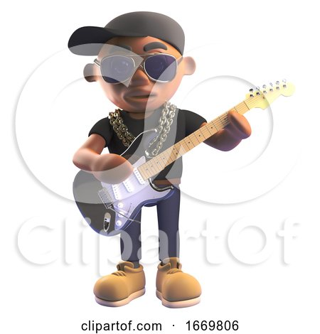 3d Black Hiphop Rapper in Baseball Cap Playing Electric Guitar, 3d Illustration by Steve Young