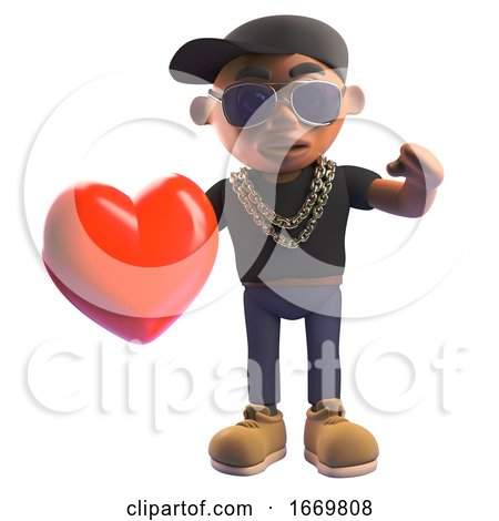 Cartoon 3d Black Hiphop Rapper Holding a Romantic Red Heart, 3d Illustration by Steve Young