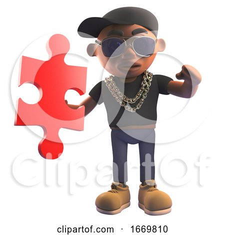 3d Cartoon Black Hiphop Rapper Character in Baseball Cap Holding a Piece of a Jigsaw Puzzle, 3d Illustration Posters, Art Prints