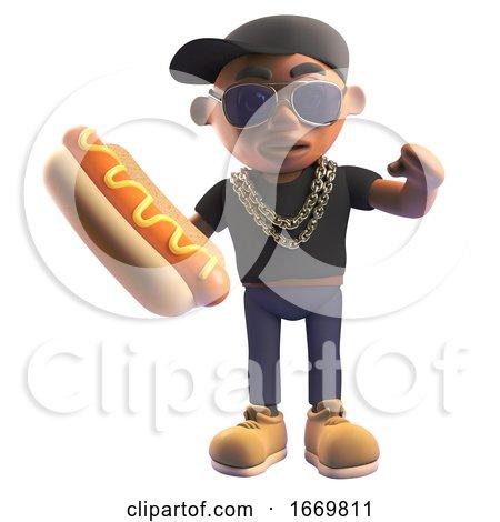 Cartoon 3d Black Hiphop Rapper Eating a Hotdog, 3d Illustration by Steve Young