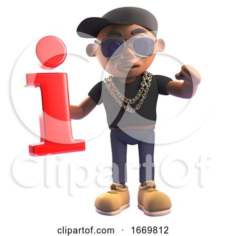 3d Cartoon Black Hiphop Rapper in Baseball Cap Holding a Red Information Symbol, 3d Illustration by Steve Young
