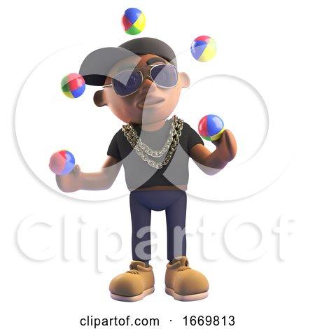 3d Cartoon Black Hiphop Rapper Character Juggling with Juggling Balls, 3d Illustration by Steve Young