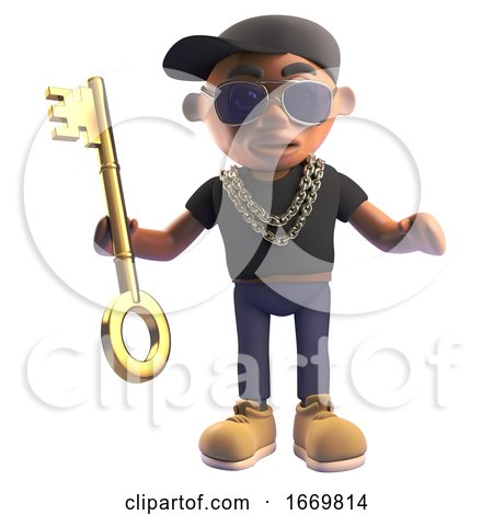 3d Black Cartoon Hiphop Rapper Character Holding a Gold Key, 3d Illustration by Steve Young