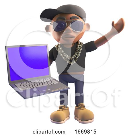 3d Black Hiphop Rapper Character in Baseball Cap Holding a Laptop Computer, 3d Illustration by Steve Young