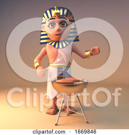3d Cleopatra Tutankhamun Egyptian Character Cooking on a Gold Barbecue Bbq, 3d Illustration by Steve Young