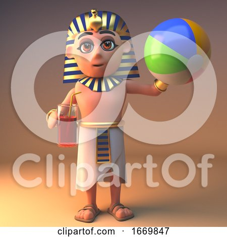 3d Cleopatra Tutankhamun Egyptian Cartoon Character Drinking and Playing with a Beach Ball, 3d Illustration by Steve Young