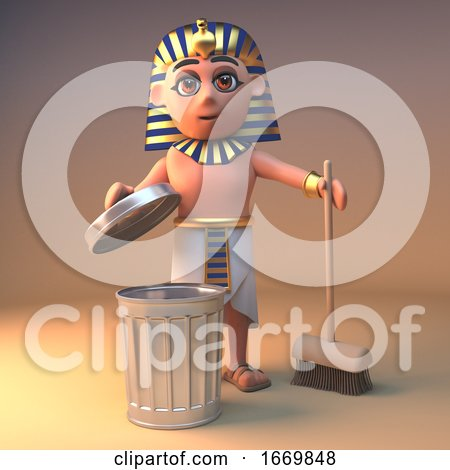 3d Egyptian Cleopatra Tutankhamun Cartoon Character Cleaning with a Broom and Rubbish Bin, 3d Illustration by Steve Young