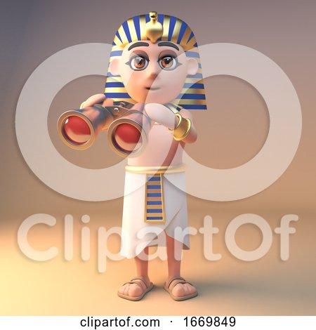 3d Cartoon Tutankhamun Cleopatra Character Using a Pair of Gold Binoculars, 3d Illustration by Steve Young