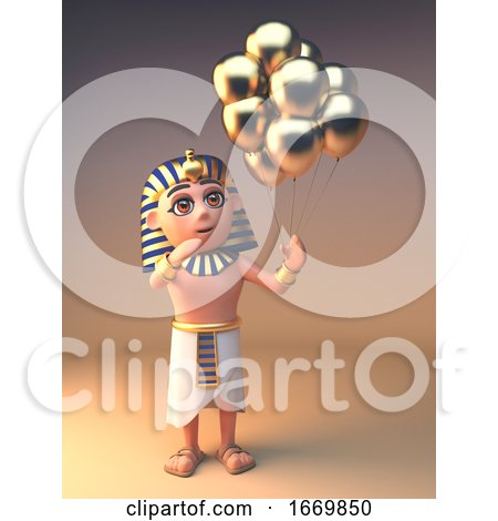 Cartoon 3d Egyptian Tutankhamun Cleopatra Character with Gold Balloons, 3d Illustration by Steve Young