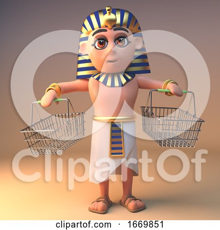 Egyptian 3d Cartoon Cleopatra Tutankhamun Character with Empty Shopping Baskets, 3d Illustration by Steve Young