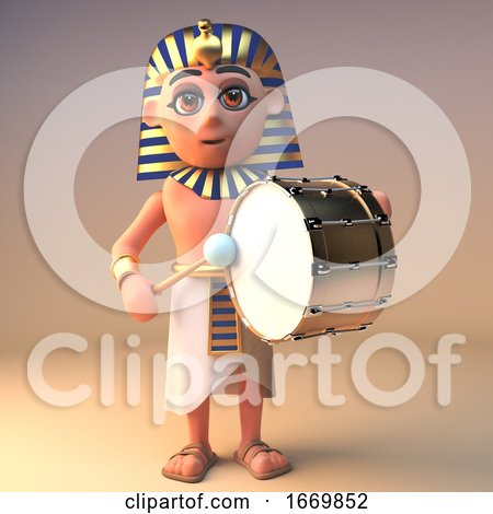 3d Egyptian Cartoon Cleopatra Tutankhamun Character Playing a Bass Drum, 3d Illustration by Steve Young
