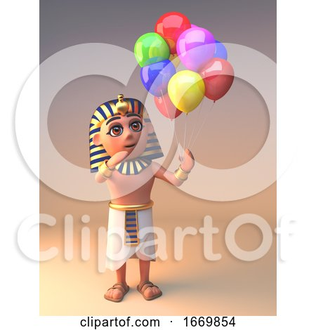3d Egyptian Cleopatra Tutankhamun Character Holding Party Balloons, 3d Illustration by Steve Young