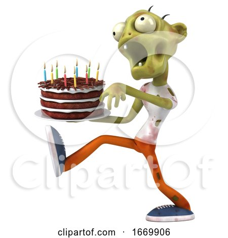 3d Green Zombie Holding a Birthday Cake, on a White Background by Julos