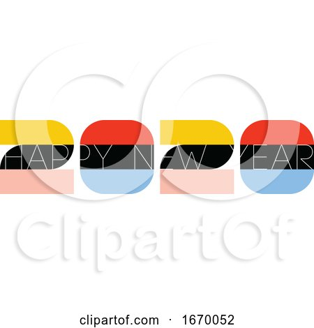 Multicolored Numbers 2020 and Happy New Year Greetings Isolated on White Background. Elegant Vector Illustration in Retro Style for Holiday Calendar or Greeting Card by elena