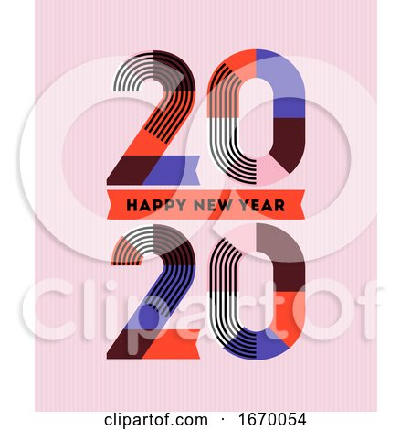 Happy New Year 2020 Design. Multicolored Abstract Numbers with Stripes and Ribbons on Pink Background. Elegant Vector Illustration in Retro Style for Holiday Calendar or Greeting Card by elena