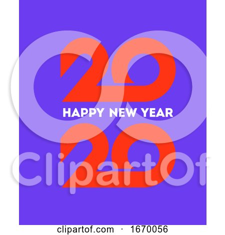 Happy New Year 2020 Logo Design with Orange Geometric Numbers on Purple Background. Modern Vector Illustration for Business Diary Cover, Calendar or Flyer by elena