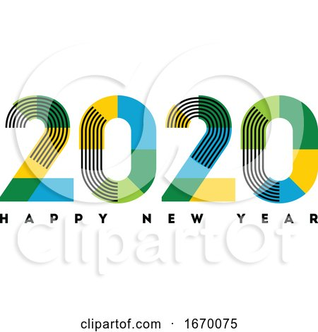 Happy New Year 2020 Design. Abstract Numbers with Stripes and Color Blocks Isolated on White Background. Elegant Vector Illustration in Modern Style for Holiday Calendar, Greeting Card or Banner by elena