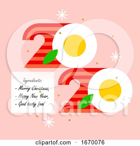 Colorful Numbers 2020 Look like Eggs with Bacon and Greetings of Happy and Tasty New Year. Modern Vector Illustration for Cover of Food and Cook Theme Brochure or Calendar by elena