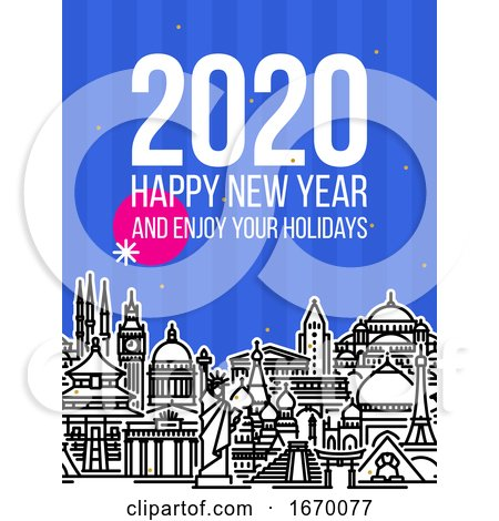 Modern Style Numbers 2020 with Cityscape of Worlds Most Popular Tourist Attractions and Happy New Year Greetings on Blue Background. Modern Vector Illustration for Printed Matter or Web Design by elena