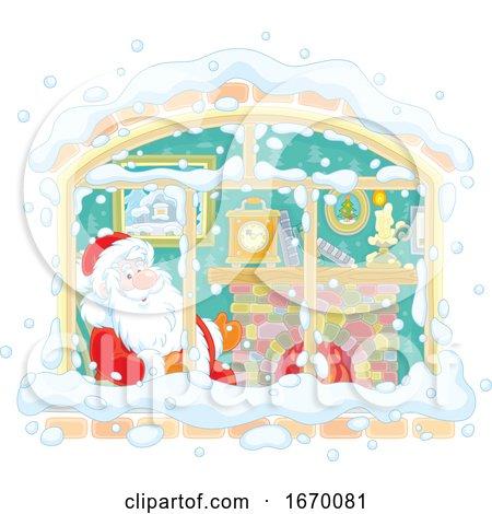 Santa Inside a Window by Alex Bannykh