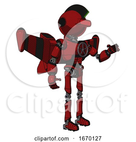 Mech Containing Oval Wide Head and Red Horizontal Visor and Techno Mohawk and Light Chest Exoshielding and Chest Valve Crank and Stellar Jet Wing Rocket Pack and Ultralight Foot Exosuit. Dark Red. by Leo Blanchette