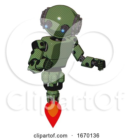 Android Containing Oval Wide Head and Telescopic Steampunk Eyes and Steampunk Iron Bands with Bolts and Light Chest Exoshielding and Prototype Exoplate Chest and Jet Propulsion. Grass Green. by Leo Blanchette