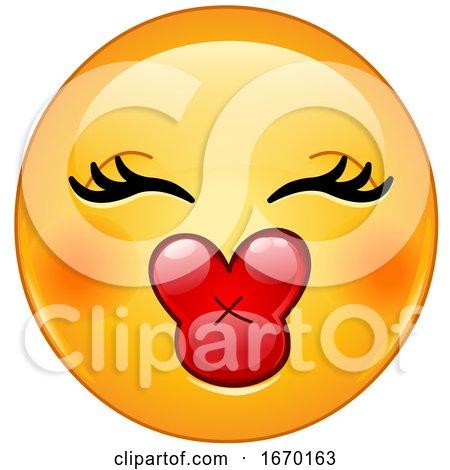 Smiley Emoji Emoticon with Kiss Lips by yayayoyo