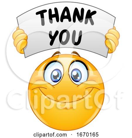 Smiley Emoji Emoticon Holding a Thank You Banner by yayayoyo