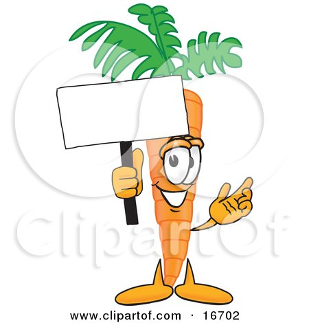 Clipart Picture of an Orange Carrot Mascot Cartoon Character Waving a Blank White Advertisement Sign by Toons4Biz