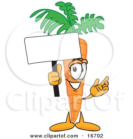 Orange carrot mascot cartoon character waving a blank white