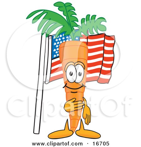 Clipart Picture of an Orange Carrot Mascot Cartoon Character Pledging Allegiance to an American Flag by Toons4Biz