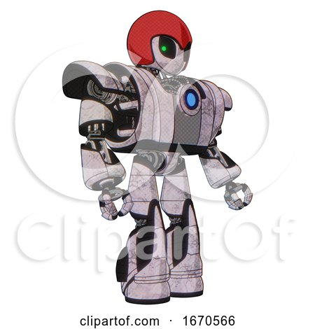 Robot Containing Grey Alien Style Head and Green Inset Eyes and Red Helmet and Heavy Upper Chest and Heavy Mech Chest and Blue Energy Fission Element Chest and Light Leg Exoshielding . by Leo Blanchette