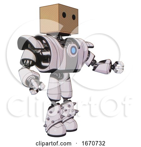 Automaton Containing Dual Retro Camera Head and Cardboard Box Head and Heavy Upper Chest and Heavy Mech Chest and Blue Energy Fission Element Chest and Light Leg Exoshielding and Spike Foot Mod. by Leo Blanchette
