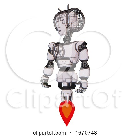 Bot Containing Humanoid Face Mask and Spiral Design and Light Chest Exoshielding and Chest Valve Crank and Jet Propulsion. White Halftone Toon. Standing Looking Right Restful Pose. by Leo Blanchette