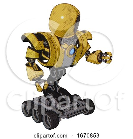 Cyborg Containing Round Head and Heavy Upper Chest and Heavy Mech Chest and Blue Energy Fission Element Chest and Six-wheeler Base. Construction Yellow Halftone. Fight or Defense Pose.. by Leo Blanchette