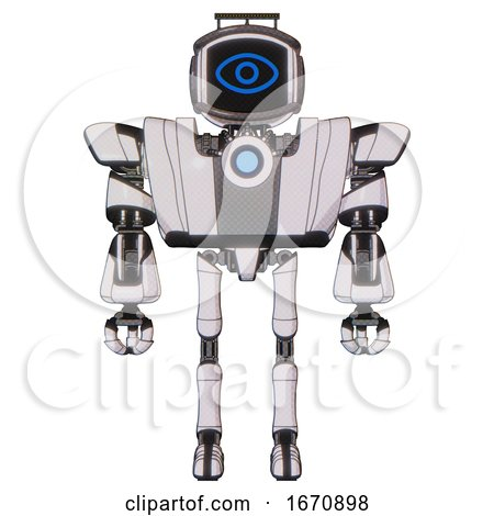 Robot Containing Digital Display Head and Large Eye and Led and Protection Bars and Heavy Upper Chest and Heavy Mech Chest and Blue Energy Fission Element Chest and Ultralight Foot Exosuit. by Leo Blanchette