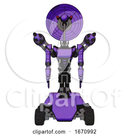 Bot Containing Dual Retro Camera Head and Satellite Dish Head and Light Chest Exoshielding and Ultralight Chest Exosuit and Minigun Back Assembly and Six-wheeler Base. Secondary Purple Halftone. by Leo Blanchette