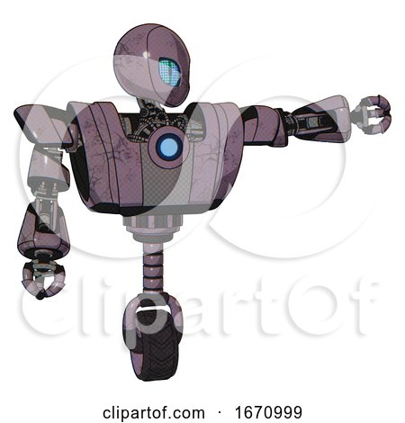 Droid Containing Grey Alien Style Head and Blue Grate Eyes and Heavy Upper Chest and Heavy Mech Chest and Blue Energy Fission Element Chest and Unicycle Wheel. Lilac Metal. by Leo Blanchette