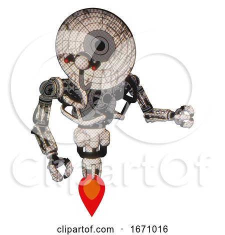 Cyborg Containing Dual Retro Camera Head and Satellite Dish Head and Heavy Upper Chest and No Chest Plating and Jet Propulsion. Halftone Sketch. Fight or Defense Pose.. by Leo Blanchette