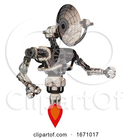 Cyborg Containing Dual Retro Camera Head and Satellite Dish Head and Heavy Upper Chest and No Chest Plating and Jet Propulsion. Halftone Sketch. Interacting. by Leo Blanchette